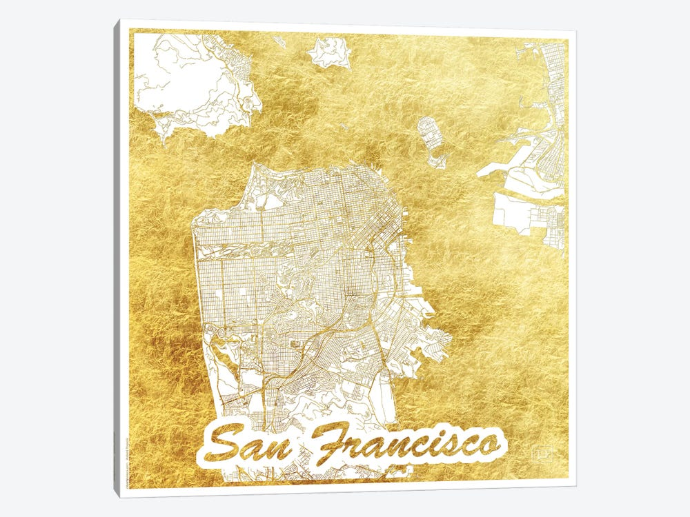 San Francisco Gold Leaf Urban Blueprint Map by Hubert Roguski 1-piece Canvas Print