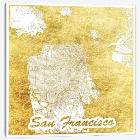 San Francisco Gold Leaf Urban Blueprint Map 3-Piece Canvas #HUR332} by Hubert Roguski Canvas Artwork