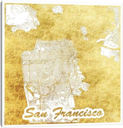 San Francisco Gold Leaf Urban Blueprint Map Canvas Art Print