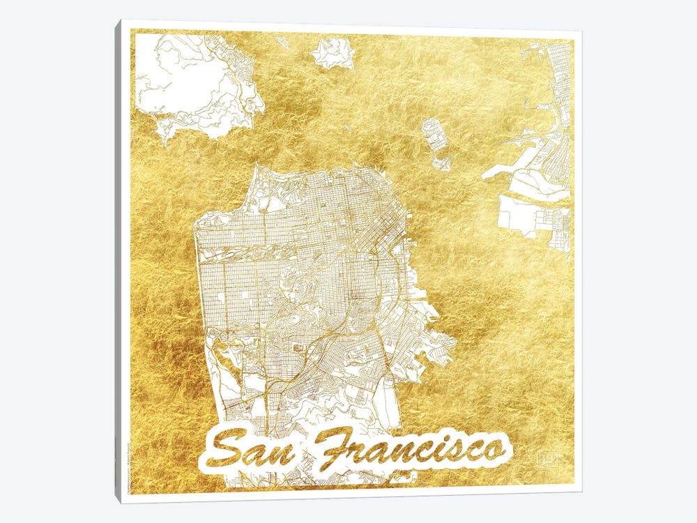 San Francisco Gold Leaf Urban Blueprint Map by Hubert Roguski 1-piece Canvas Print