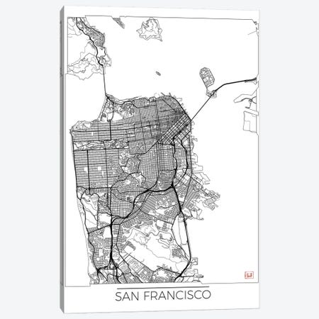 San Francisco Minimal Urban Blueprint Map Canvas Print #HUR333} by Hubert Roguski Canvas Art