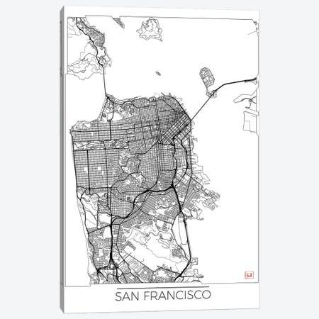 San Francisco Minimal Urban Blueprint Map Canvas Print #HUR333} by Hubert Roguski Canvas Art