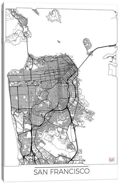 San Francisco Minimal Urban Blueprint Map Canvas Art Print