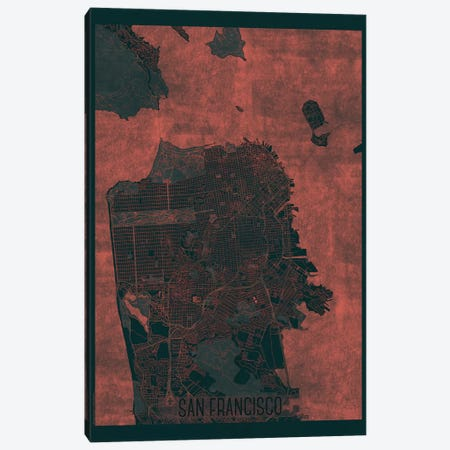 San Francisco Infrared Urban Blueprint Map Canvas Print #HUR334} by Hubert Roguski Canvas Art Print