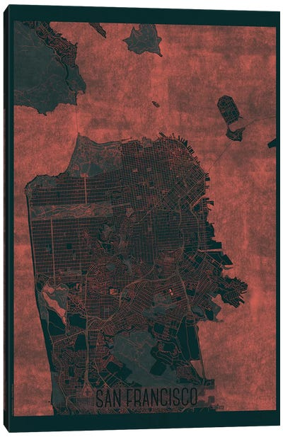 San Francisco Infrared Urban Blueprint Map Canvas Art Print