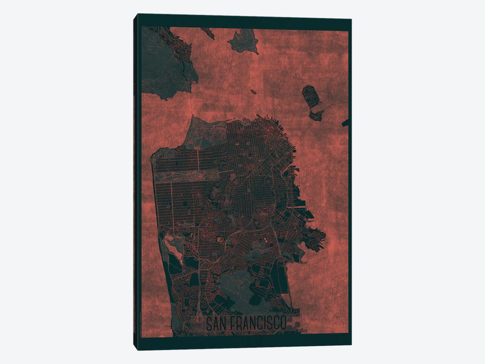 San Francisco Infrared Urban Blueprint Map by Hubert Roguski 1-piece Canvas Art Print