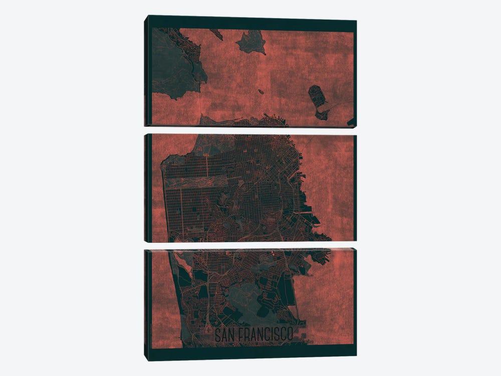 San Francisco Infrared Urban Blueprint Map by Hubert Roguski 3-piece Canvas Print
