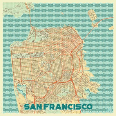 san francisco retro urban blueprint map art p hubert roguski