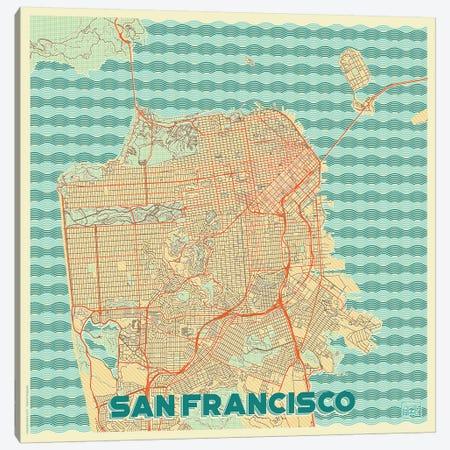 San Francisco Retro Urban Blueprint Map 3-Piece Canvas #HUR335} by Hubert Roguski Art Print