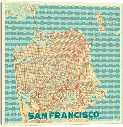 San Francisco Retro Urban Blueprint Map Canvas Art Print