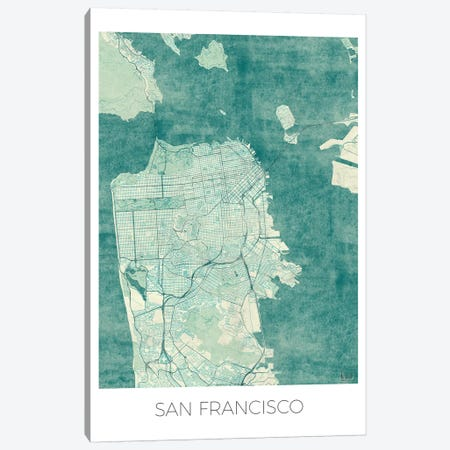San Francisco Vintage Blue Watercolor Urban Blueprint Map Canvas Print #HUR336} by Hubert Roguski Canvas Print