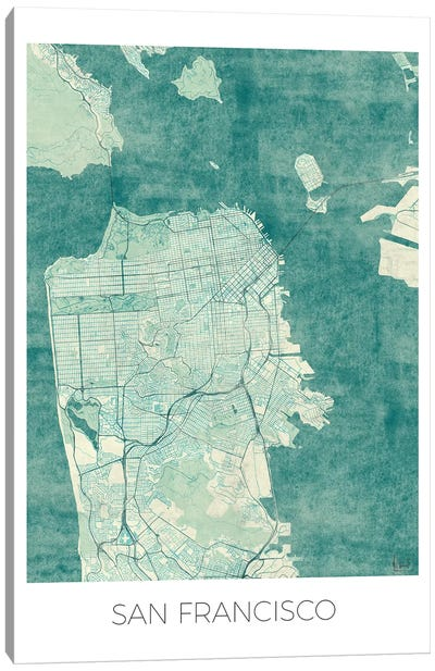 San Francisco Vintage Blue Watercolor Urban Blueprint Map Canvas Art Print