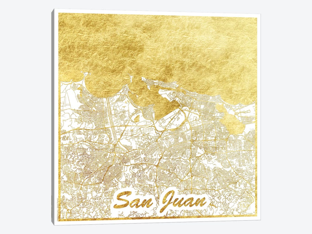 San Juan Gold Leaf Urban Blueprint Map by Hubert Roguski 1-piece Canvas Artwork