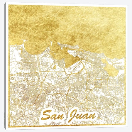 San Juan Gold Leaf Urban Blueprint Map 3-Piece Canvas #HUR337} by Hubert Roguski Canvas Art Print
