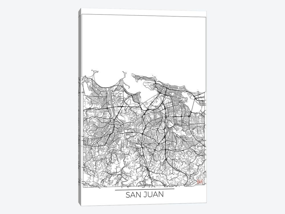 San Juan Minimal Urban Blueprint Map by Hubert Roguski 1-piece Canvas Print