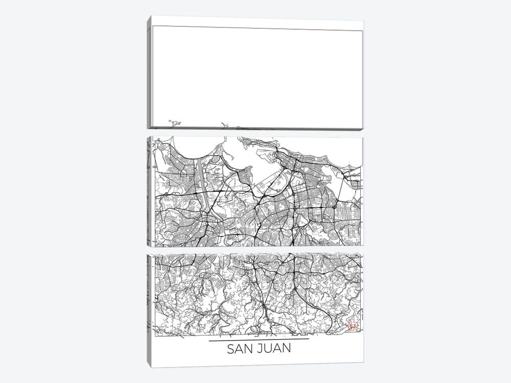San Juan Minimal Urban Blueprint Map by Hubert Roguski 3-piece Canvas Art Print
