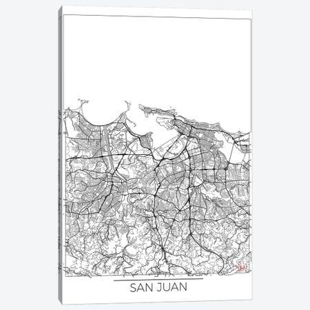 San Juan Minimal Urban Blueprint Map 3-Piece Canvas #HUR338} by Hubert Roguski Canvas Wall Art