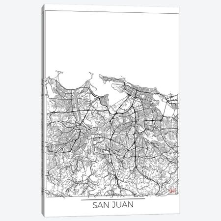 San Juan Minimal Urban Blueprint Map Canvas Print #HUR338} by Hubert Roguski Canvas Wall Art