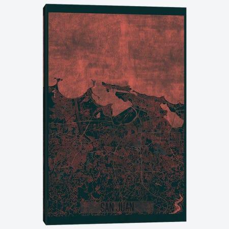 San Juan Infrared Urban Blueprint Map 3-Piece Canvas #HUR339} by Hubert Roguski Canvas Wall Art