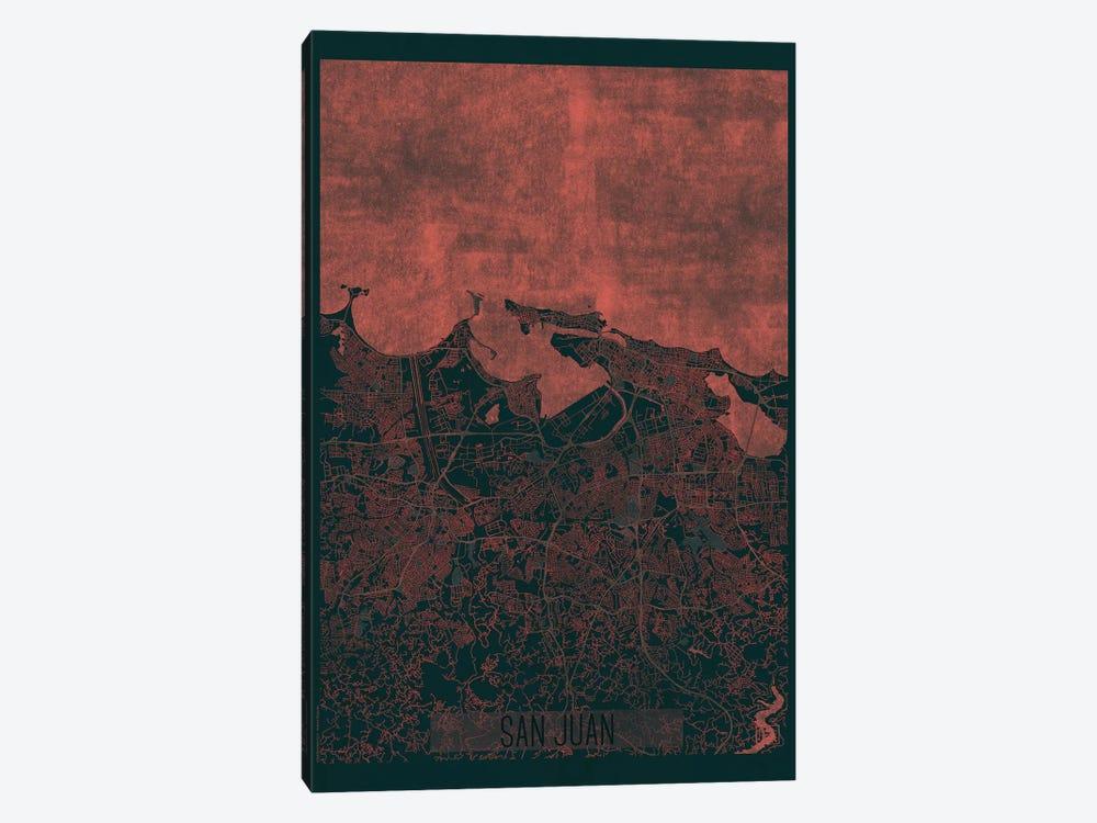 San Juan Infrared Urban Blueprint Map by Hubert Roguski 1-piece Canvas Wall Art