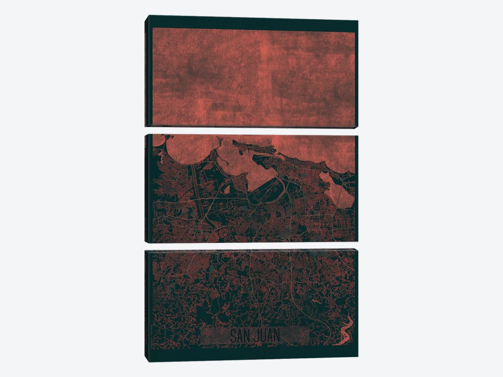 San Juan Infrared Urban Blueprint Map by Hubert Roguski 3-piece Canvas Artwork