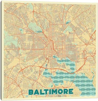 Baltimore Retro Urban Blueprint Map Canvas Art Print