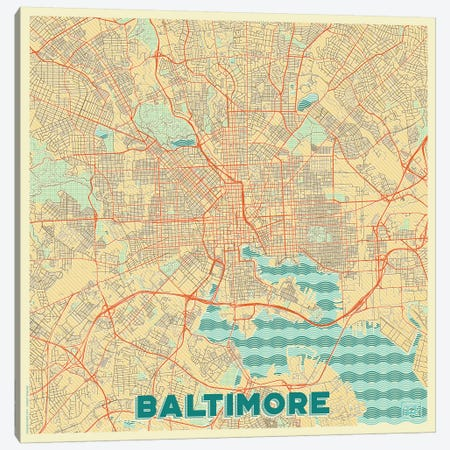 Baltimore Retro Urban Blueprint Map Canvas Print #HUR33} by Hubert Roguski Canvas Artwork