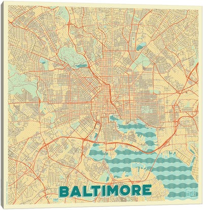 Baltimore Retro Urban Blueprint Map Canvas Art Print