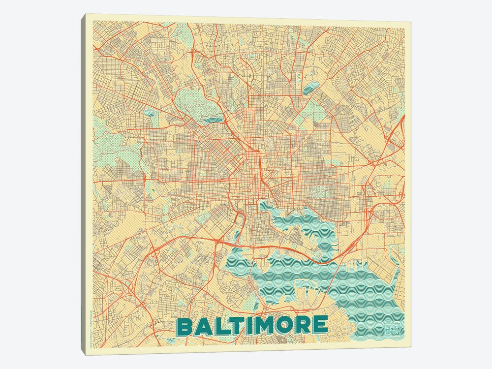 Baltimore Retro Urban Blueprint Map by Hubert Roguski 1-piece Canvas Art