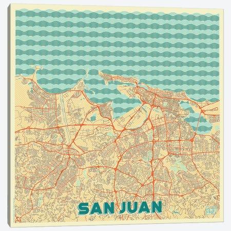 San Juan Retro Urban Blueprint Map Canvas Print #HUR340} by Hubert Roguski Canvas Art Print