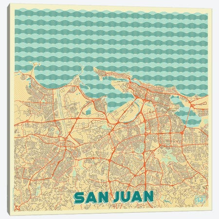 San Juan Retro Urban Blueprint Map 3-Piece Canvas #HUR340} by Hubert Roguski Canvas Art Print