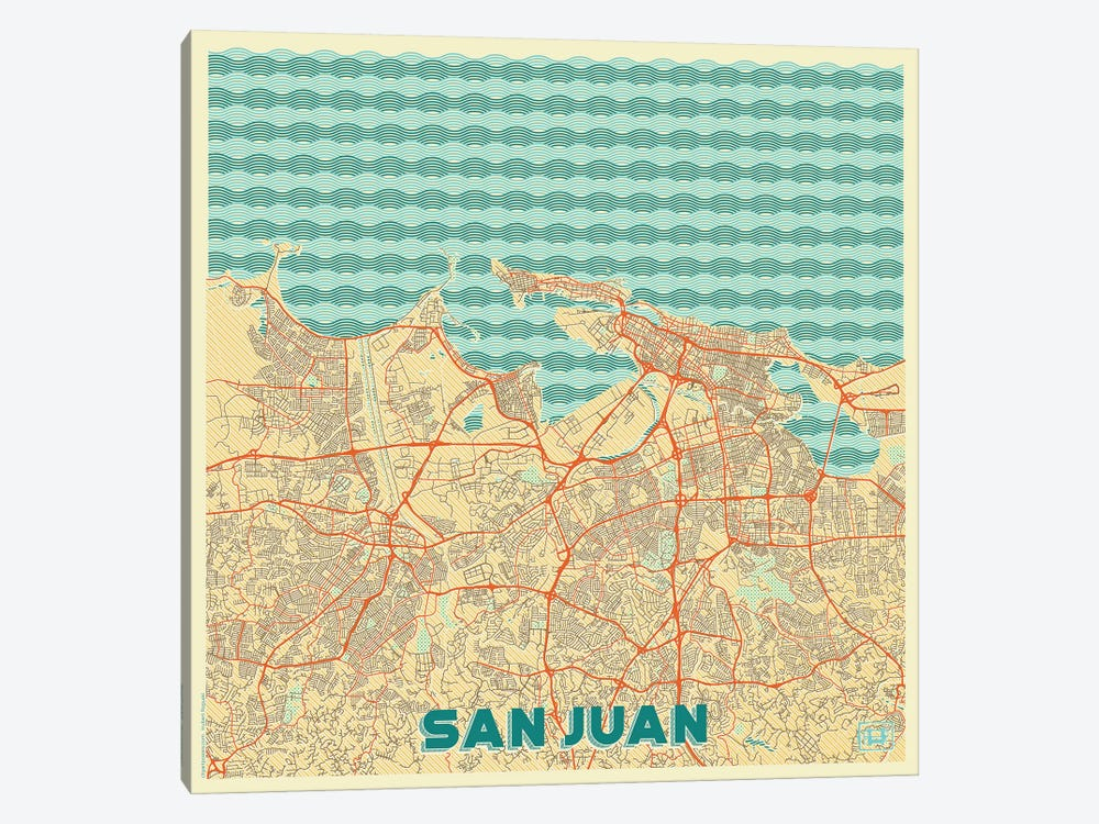 San Juan Retro Urban Blueprint Map by Hubert Roguski 1-piece Canvas Wall Art