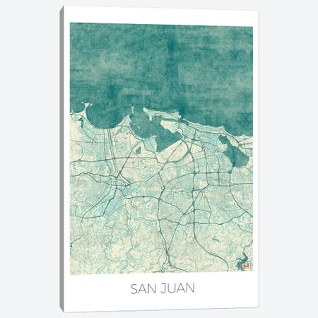 San Juan Vintage Blue Watercolor Urban Blueprint Map Canvas Print #HUR341} by Hubert Roguski Art Print