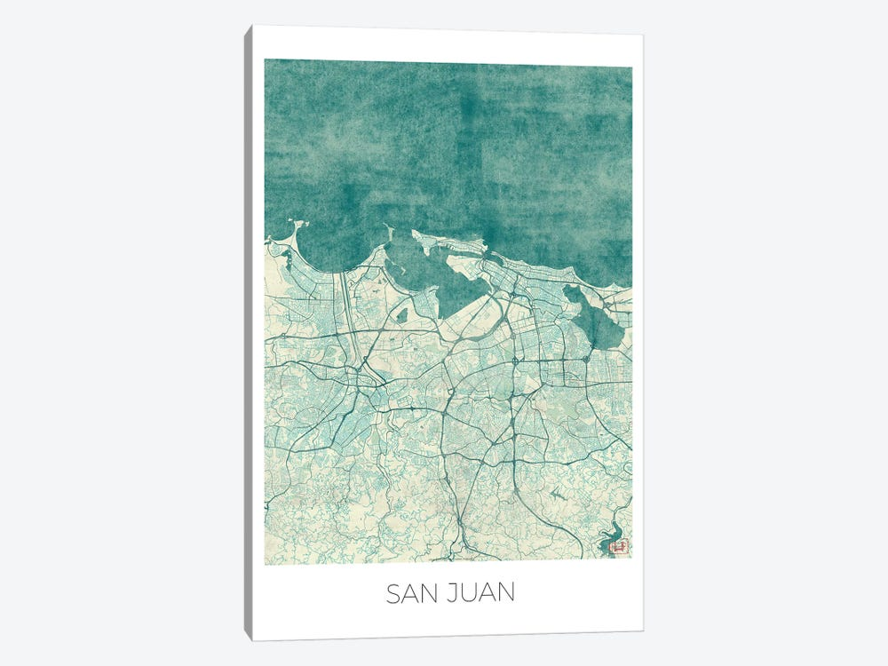 San Juan Vintage Blue Watercolor Urban Blueprint Map by Hubert Roguski 1-piece Canvas Art Print
