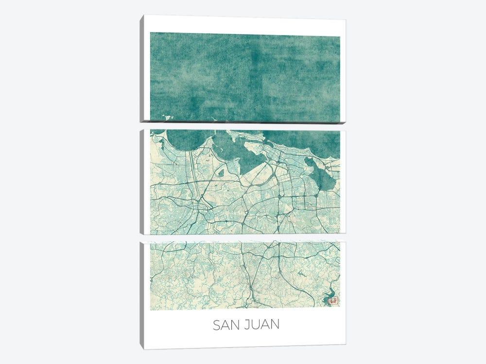 San Juan Vintage Blue Watercolor Urban Blueprint Map by Hubert Roguski 3-piece Canvas Print