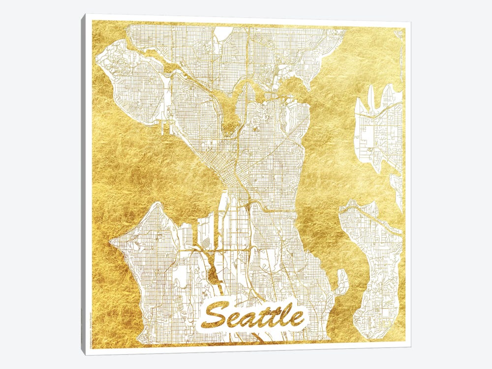 Seattle Gold Leaf Urban Blueprint Map by Hubert Roguski 1-piece Canvas Wall Art