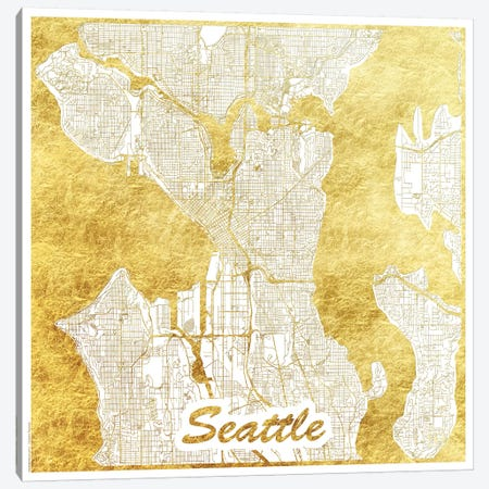 Seattle Gold Leaf Urban Blueprint Map Canvas Print #HUR342} by Hubert Roguski Canvas Art Print
