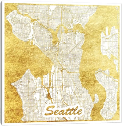 Seattle Gold Leaf Urban Blueprint Map Canvas Art Print
