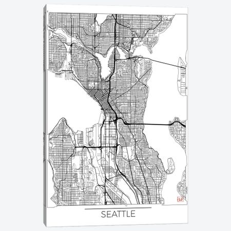 Seattle Minimal Urban Blueprint Map Canvas Print #HUR343} by Hubert Roguski Canvas Print