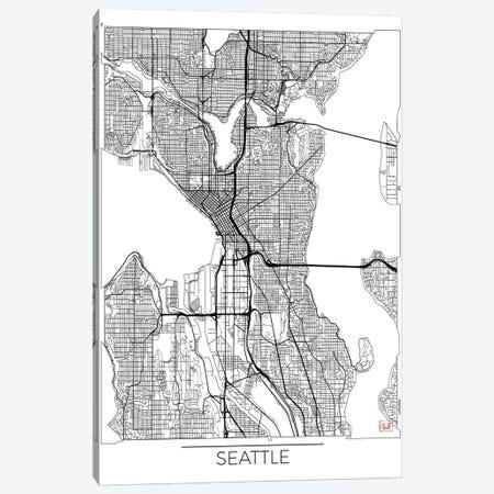 Seattle Minimal Urban Blueprint Map Canvas Print #HUR343} by Hubert Roguski Canvas Print