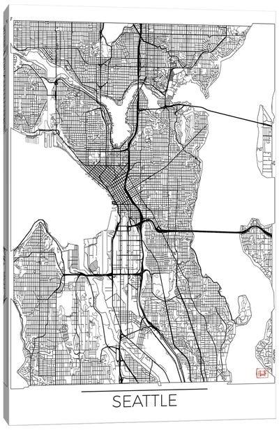Seattle Minimal Urban Blueprint Map Canvas Art Print