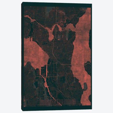 Seattle Infrared Urban Blueprint Map Canvas Print #HUR344} by Hubert Roguski Canvas Artwork
