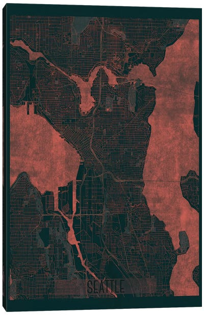 Seattle Infrared Urban Blueprint Map Canvas Art Print