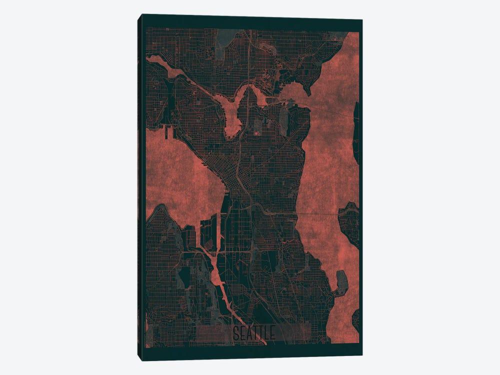 Seattle Infrared Urban Blueprint Map by Hubert Roguski 1-piece Canvas Wall Art