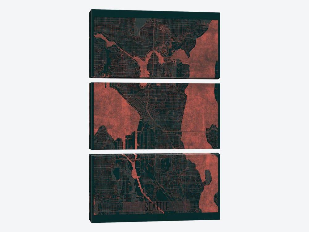 Seattle Infrared Urban Blueprint Map by Hubert Roguski 3-piece Canvas Art