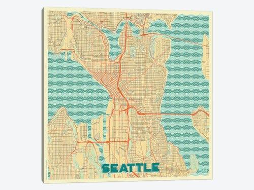 Seattle Retro Urban Blueprint Map Art Print By Hubert Roguski Icanvas