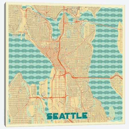 Seattle Retro Urban Blueprint Map Canvas Print #HUR345} by Hubert Roguski Canvas Artwork