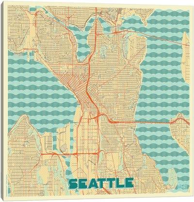 Seattle Retro Urban Blueprint Map Canvas Art Print