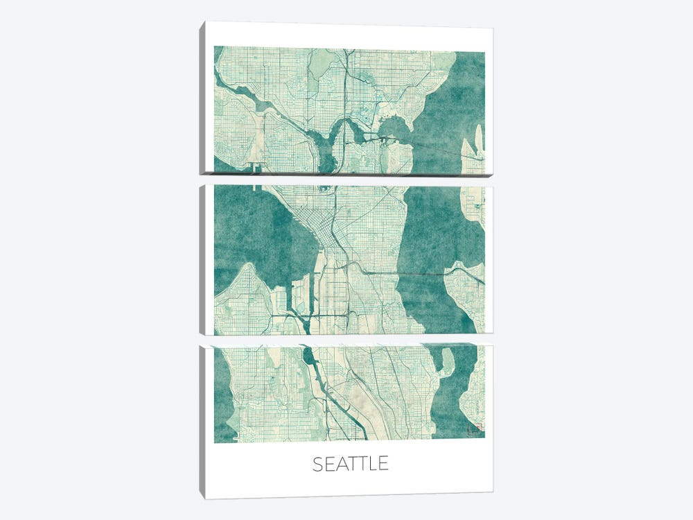 Seattle Vintage Blue Watercolor Urban Blueprint Map by Hubert Roguski 3-piece Canvas Art