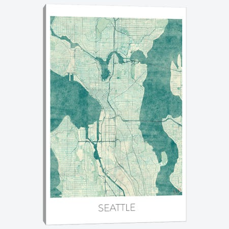 Seattle Vintage Blue Watercolor Urban Blueprint Map Canvas Print #HUR346} by Hubert Roguski Canvas Artwork